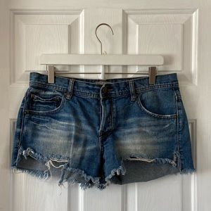 Free People  Button Fly Distresses Jean Shorts